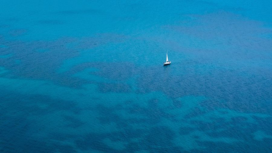 Transportation Nautical Vessel Sea Aerial View Sailing Sailboat Mode Of Transport High Angle View Outdoors Tranquil Scene Scenics Travel Blue Nature Beauty In Nature No People Tranquility Yacht Day Wake - Water