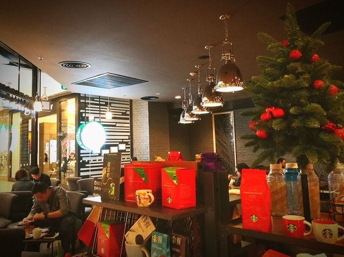 Starbucks Indoors  No People Christmas Celebration Event Light And Shadow Chill Out Drinking Coffee Looking And Thinking What Am I Going To Do In Life Better Days Will Come .