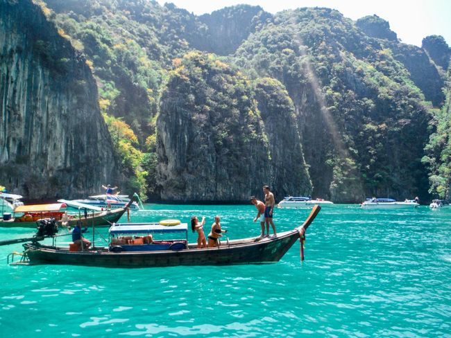 Phi phi island, Phuket Snorkeling Sea Island Tourism Boat Water Tree Plant Mode Of Transportation Group Of People Nautical Vessel Mountain Beauty In Nature Nature Non-urban Scene Real People Scenics - Nature Outdoors Travel Men Transportation