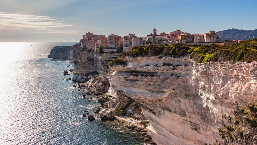 view to bonifacio in corsica 16:9 Architecture Beauty In Nature Bonifacio Building Exterior Built Structure Castle Cliff Corsica Day Lime Rock Nature No People Outdoors Postcard Motive Reflections In The Water Rock - Object Scenics Sea Sky Summer Travel Destinations Viewpoint Water