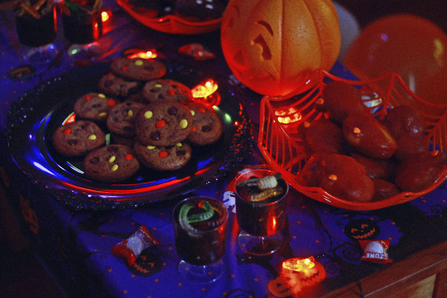 Halloween, 2017 Cookies Halloween Celebration Christmas Close-up Decoration Dessert Food Food And Drink Food Photography Freshness High Angle View Holiday Holiday - Event Illuminated Indoors  Indulgence No People Party Pumpkin Still Life Sweet Sweet Food Table Temptation