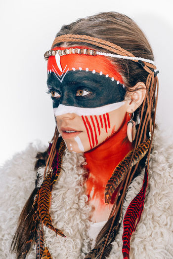 Portrait Ethnic American Indian One Woman Only One Young Woman Only One Person Young Women White Background Disguise Headshot Looking At Camera Human Face Red Front View Face Paint Stage Make-up Eye Mask Body Paint Eye Make-up Make-up Ceremonial Make-up International Women's Day 2019