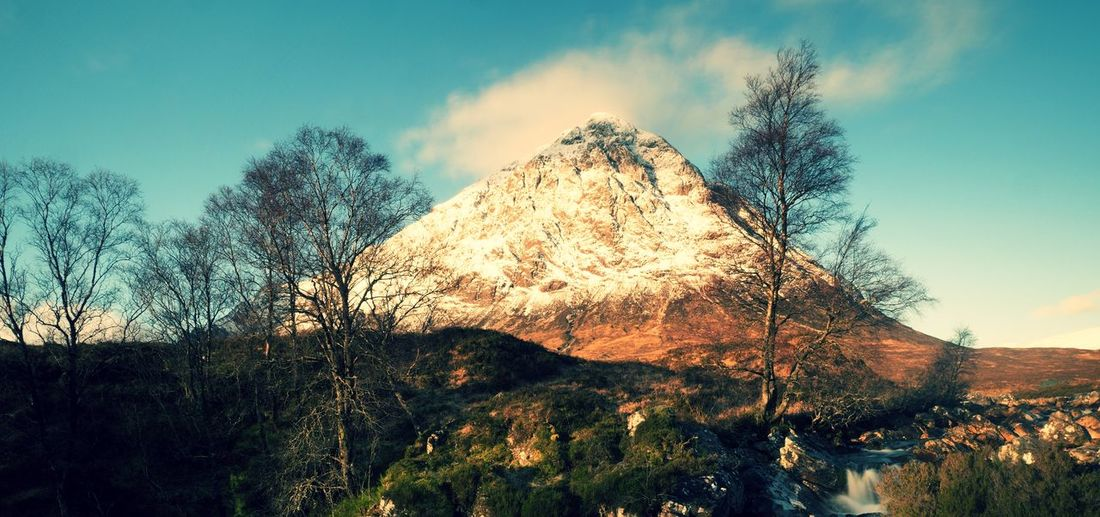 Higland in scotland. marvelous day at frozen river coupall at delta to river etive. snowy mountain