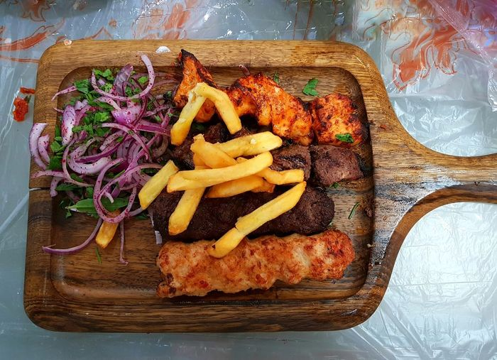 Lamb and Beef Kofta Kebab with potatoes Dish Freshness Chiken Close-up Fast Food Food Food And Drink French Fries Fresh Food Grilled Indoors  Meat No People Plate Potato Prepared Potato Ready-to-eat Rosted Table Vegetable