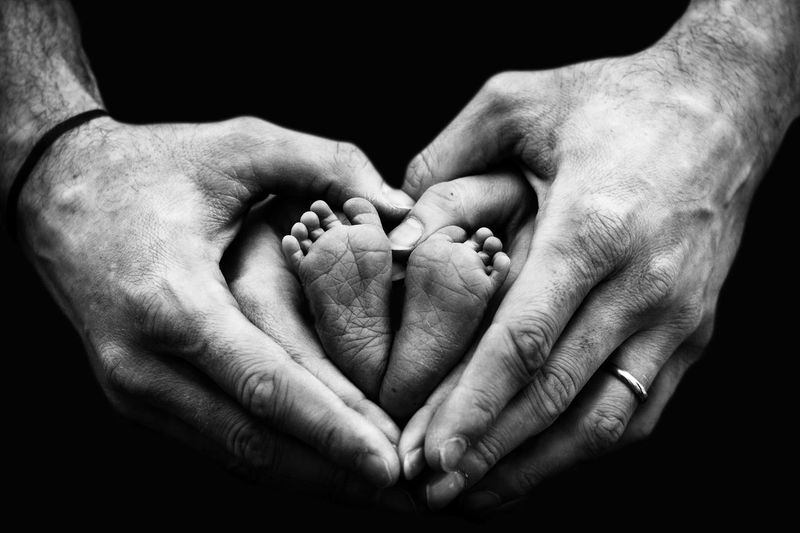Love This Is Family Human Hand Togetherness Bonding Love Men New Life Close-up Heart Shape Belly I Love You