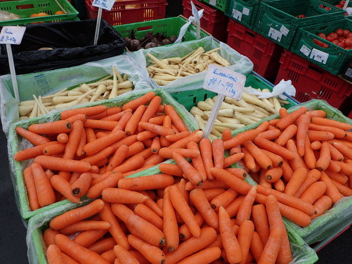 Abundance Business Carrots Choice Consumerism Day Food For Sale Freshness Healthy Eating High Angle View Large Group Of Objects Market Market Stall No People Outdoors Price Tag Raw Food Retail  Variation Vegetable