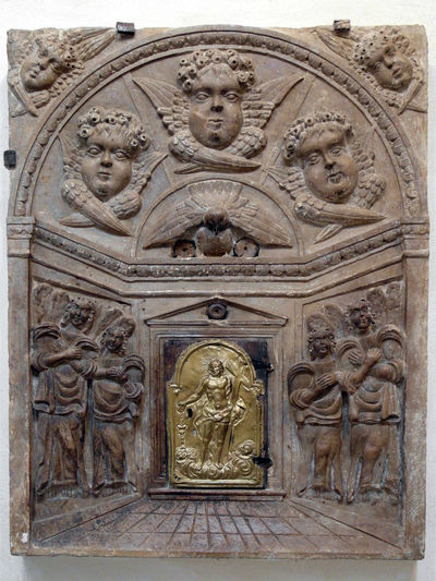 Tabernacle with bas-relief Tabernacolo Bas Relief Bas-relief Close-up Human Representation Italy Larino Molise Museum Sculpture Tabernacle