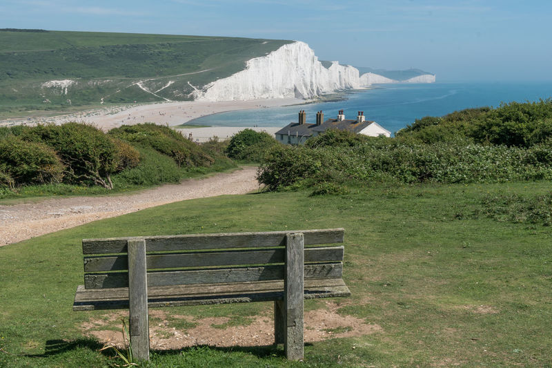 Seaford Head, Seven Sisters Country Park, East Sussex, England 4 Beach Beauty In Nature Bench Cliff Cottage Day Grass Grass Landscape Nature No People Outdoors Scenery Scenics Sea Seaford Sky South Downs Tranquil Scene Tranquility Tranquility Travel Destinations Water