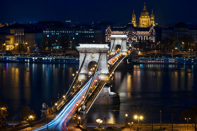 Architecture Architecture Architecture_collection Bridge Bridge - Man Made Structure Budapest Built Structure City City Life Cityscape Cityscape Europe Hungary Illuminated Long Exposure Longexposure Low Angle View Night Traffic Travel Destinations