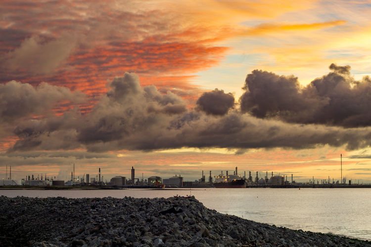 The South Gare at Redcar. North east of the UK. South Gare Redcar Uk England Europe Coast Industry Industrial North East UK North East England Teesside Tees Sunset Sunset_collection Sunset Silhouettes Sun Sky Moody Harbour Harbor Rocks Sea Ocean View Seascape