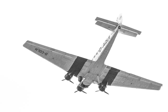Junkers JU 52. The first plane completely made of metal. Flying High Historical Building Ju 52 Junkers Letters Lufthansa Old Plane Air Vehicle Airplane Clear Sky Day Flying Low Angle View Metal No People Outdoors Transportation White Background The Week On EyeEm