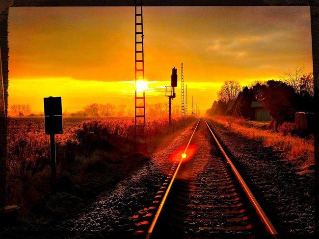 Railway Golden Hour Sunrise Way Forward