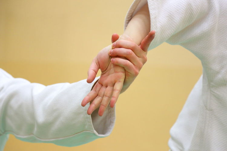 Cropped image of people practicing aikido in dojo