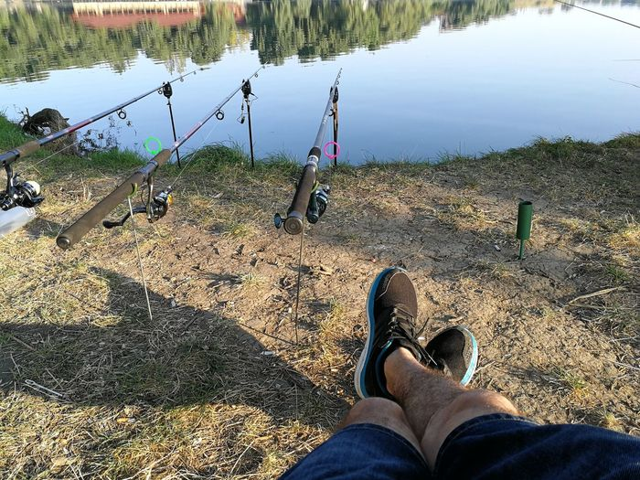 Fishing Time To Relax Beutiful Day Low Section Water Standing Human Leg Shoe Personal Perspective