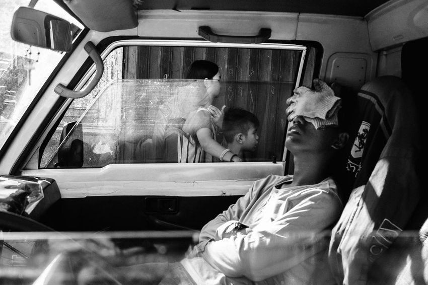 Streetphotography B&w Street Photography The Human Condition Eyeem Philippines Street Life People Streetphoto_bw EyeEm Lucena Philippines Street Photography B&w Street Real People Car Interior Transportation Men Sleeping Everybodystreet Blackandwhite TCPM The Street Photographer - 2017 EyeEm Awards The Photojournalist - 2017 EyeEm Awards BYOPaper! Black And White Friday Black And White Friday