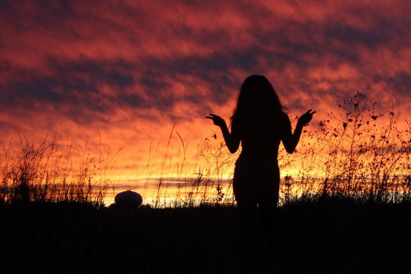 Silhouette Sunset Nature Orange Color Real People Beauty In Nature Outdoors Sky Scenics One Person People