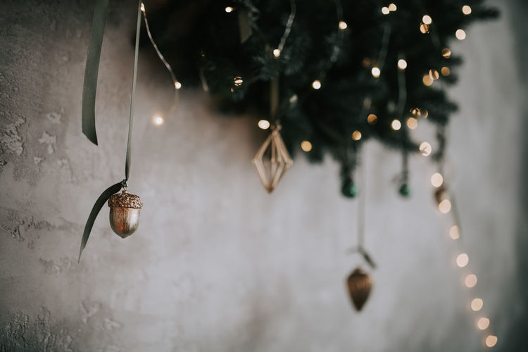 Close-up of christmas lights hanging on tree