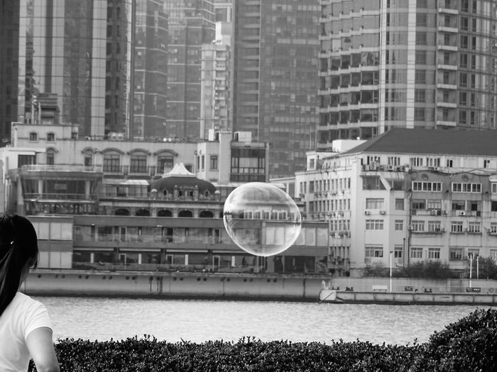 View at the Bund in Shanghai, China Architecture Built Structure Building Exterior Bubble Day City Outdoors China ASIA Asian Building Asian Building Front Shanghai Shanghai, China River Pudong Pudong Skyline