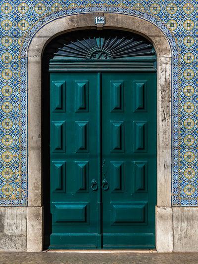 Closed door of building