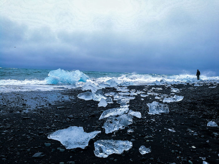 Water Wave Sea Beach Full Length Sky Horizon Over Water Cloud - Sky Iceberg - Ice Formation Glacier Glacial Iceland Polar Climate Arctic Global Warming Ice Iceberg Coast Lagoon Rocky Coastline