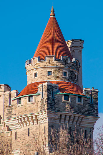 Casa Loma tower detail. The landmark is a luxurious medieval castle visited by thousands of tourists evey year Architecture Blue Sky Building Exterior Built Structure Casa Loma Castle Day Detail Exterior Façade Heritage Landmark Low Angle View Medieval Medieval Castle No People Outdoors Toronto Tourism Tourist Attraction  Tower Travel Urban Vintage