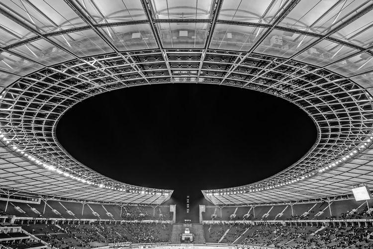Architecture B&w Berlin Photography Berliner Ansichten Black And White Capture Berlin Football Stadium Fußballstadion Hertha BSC Night Olympiastadion Olympic Stadium Stadium Urban Exploration