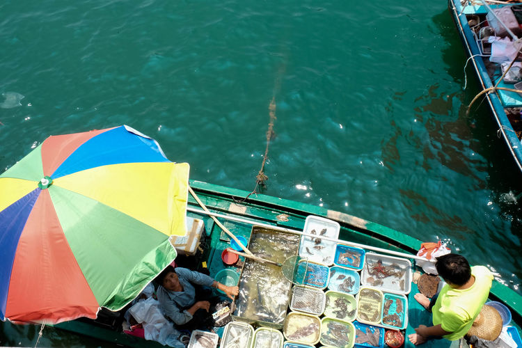 Blue Boat Boat Shop Culture Of Hong Kong Day HongKong Multi Colored Outdoors Sai Kung Seafood Selling On Boat Tradition Travel Photography Water Hidden Gems