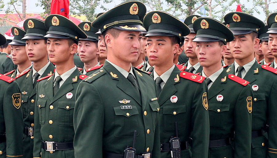 On parade Chinese Soldiers Peoples Liberation Army Adult Armed Forces Army Army Soldier Ceremony Group Of People Heroes Honor In Formation Group Males  Men Military Military Uniform On Parade Pride Uniform Uniform Cap War Young Adult Young Men