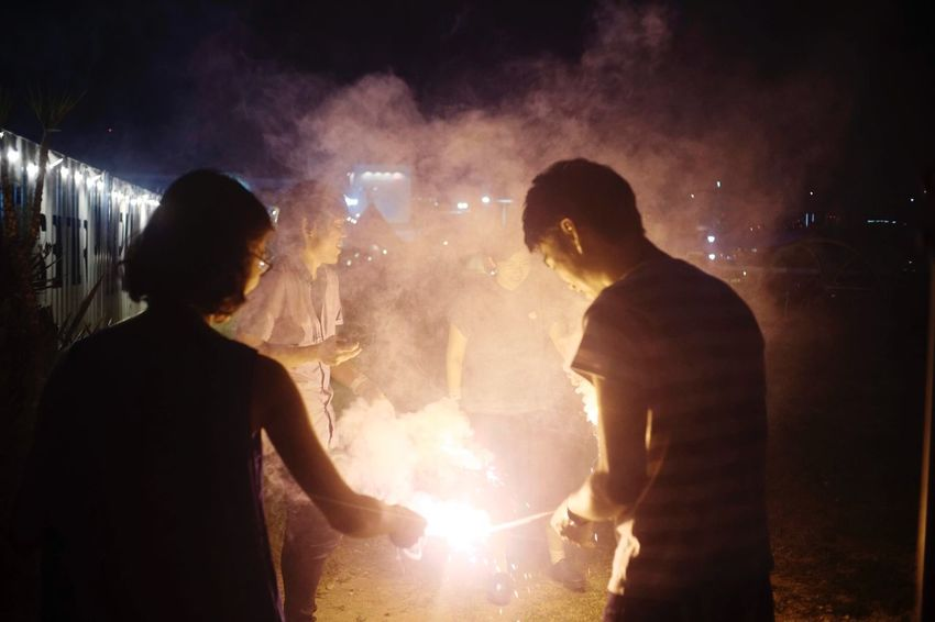 Night Real People Men Illuminated Two People Event Togetherness
