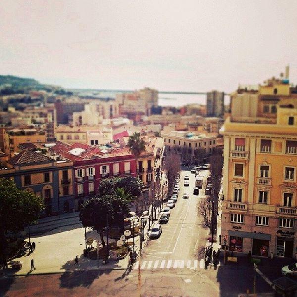 Panorama Bastione Di San Remy Cagliari Beautiful Landscape Tiltshift