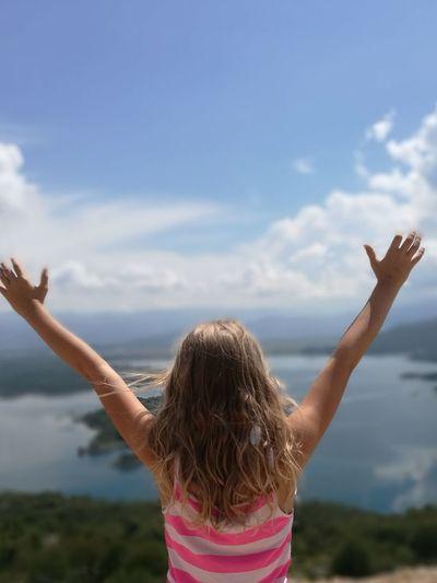 Freedom!! Wakacje ❤ #girl #montenegro #water EyeEm Selects Women Rural Scene Young Women Rear View Carefree Long Hair Harmony Human Back Human Arm Lotus Position Hand Raised Back Head Back Hair Toss Wavy Hair