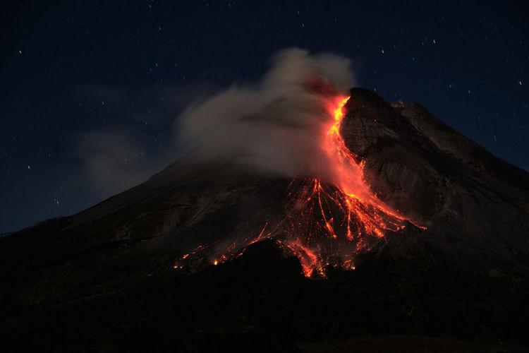 Smoke emitting from volcanic mountain at night