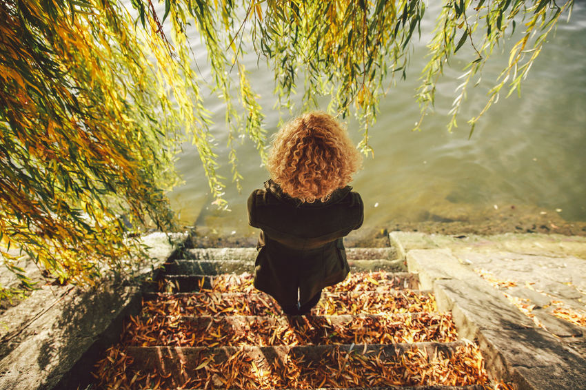 Autumn Blonde Casual Clothing Change Curly Day Full Length Girl Leaf Leisure Activity Lifestyles Nature Outdoors Seine Seine River Seine River Banks Steps Tranquility Tree View From Above Original Experiences A Bird's Eye View People And Places Breathing Space