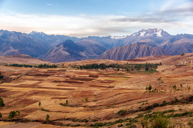 Scenic view of patchwork landscape against mountains at urubamba valley
