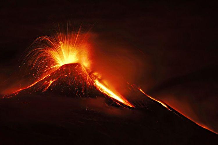 Volcanic Eruption Against Sky