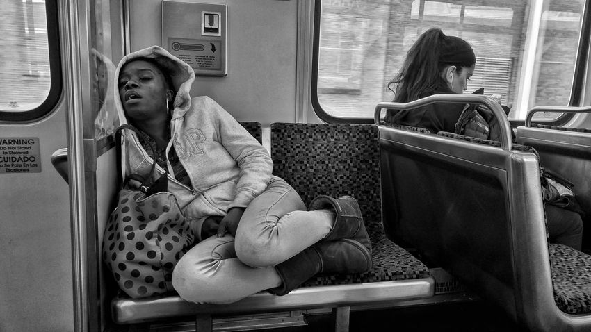 Monochrome Redline Sleeping Black And White Blackandwhite Subway Train Sitting Young Women Public Transportation Women Warm Clothing Train - Vehicle Train Interior Train Rail Transportation Commuter Train Passenger Train Vehicle Interior Passenger The Street Photographer - 2018 EyeEm Awards