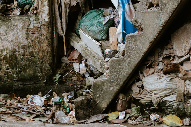 High angle view of garbage in abandoned building