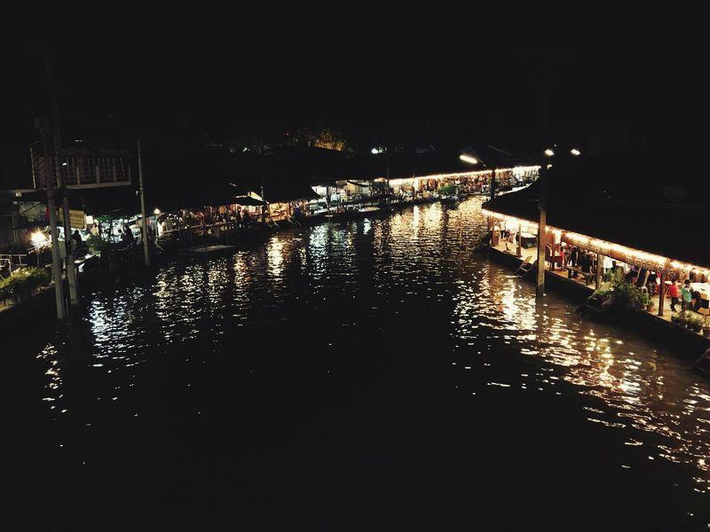 Tranquil Scene Riverside Night Reflection Thailand Rivermarket