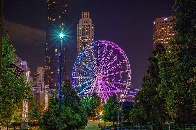 Illuminated skyview atlanta at centennial olympic park