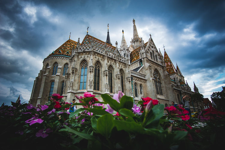 Matthias Church Ancient Architecture Budapest Church City Cloud Dramatic Sky Gothic Hanging Out Low Angle View Travel Architecture Building Exterior City Historical Low Angle View Outdoors Plant Sky