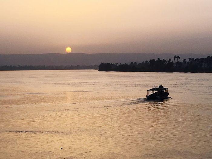 Sunset Nile River Upper Egypt  Suhag