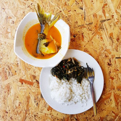 nasi patin tempoyak Patin Fish Food Local Food Tempoyak Durian Wood Table Drink Directly Above Table Tea - Hot Drink High Angle View Coffee - Drink Close-up Food And Drink