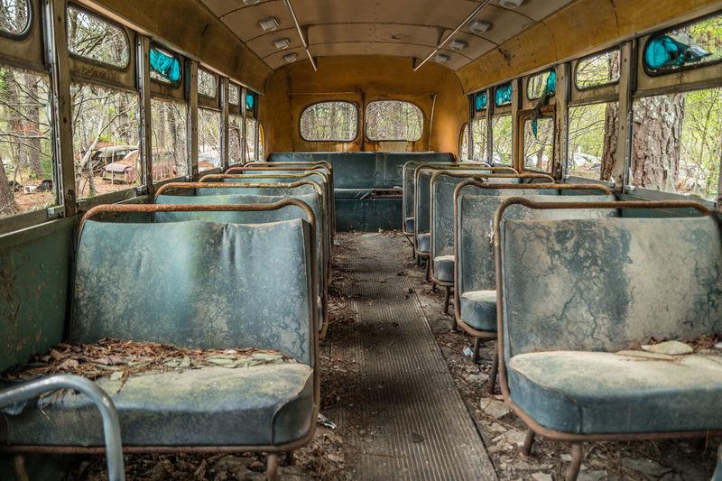 Interior of abandoned train