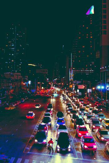 Bangkok Traffic. Transportation Night Illuminated City Mode Of Transportation Motor Vehicle Car Street Traffic City Street City Life Building Exterior Road Built Structure Architecture