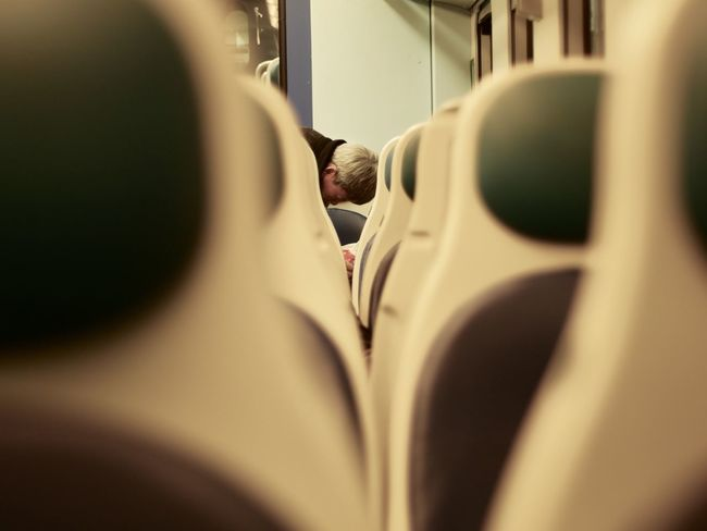 Train Commuting Person Close-up Adult Seats Train Seats Evening One Person Every Day Life