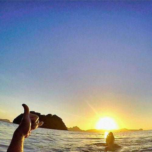 Enjoying my Sunset Time in Philippines ☝👍🌞💓💜🏄🌊☺🌎🌍🌏👉😍 elnidopalawan elnidogram sea sunset blue sky sun islands instagood instalike warrenjc