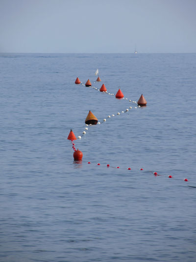 Buoy with rope floating in sea