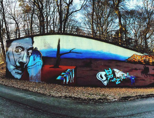 Street Art/Graffiti Graffiti Urban Landscape Urban Art Mural Timeless Clock Time Passes Wood Wall ArtWork
