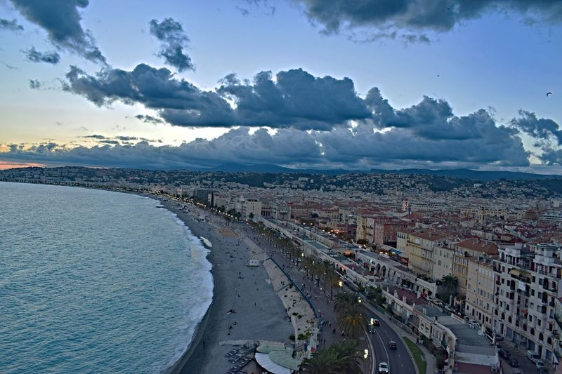 Nice Côte D'Azur Southoffrance Architecture Built Structure Building Exterior City Water High Angle View Transportation Sky Cloud - Sky Cityscape Road Sea Street City Life Cloud Aerial View River City Street Day Ocean Beach