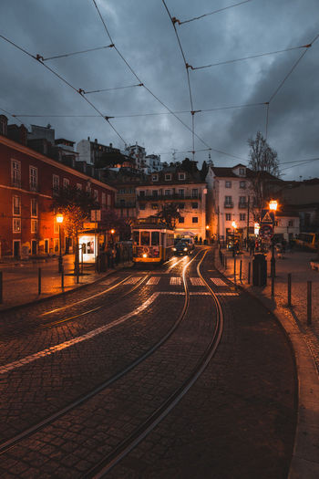 Cable Car Architecture Building Exterior Built Structure City Cloud - Sky Dusk Electricity  Illuminated Lighting Equipment Mode Of Transportation Nature Night No People Outdoors Public Transportation Rail Transportation Railroad Track Sky Street Street Light Track Transportation